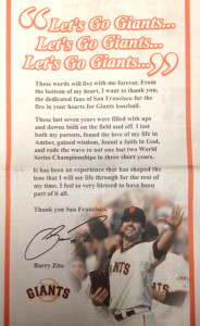 Barry Zito Thanks San Francisco Giants Fans.