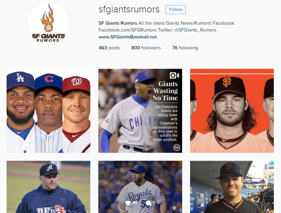 SF Giants Rumors Instagram